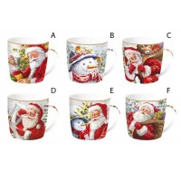 Mug porcelana decorado navideño Papa Noel New Christmas Time 350ml
