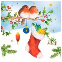 Servilletas papel navideñas estampado Pájaros y acebo 20 unidades 33x33cm