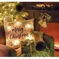 Cojín navideño blanco estampado acebo Merry Christmas con luces led 2 modelos 43x43cm