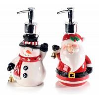 Dispensador jabón navideño cerámico Papa Noel o Muñeco de nieve 10,5x8,5x20h cm