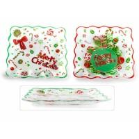 Plato fuente cuadrada Navidad vidrio borde ondulado Merry Christmas o Happy Holidays 24,5x24,5cm