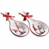 Reposa cuchara cerámica estampado Navidad Papa Noeles 2 modelos 12x23,5h cm
