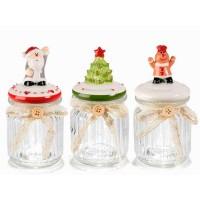 Bote cristal con tapa cerámica con figura navideña: Papa Noel, Árbol Navidad o Muñeco Jengibre Ø8x15,5h cm