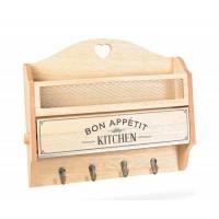 Portarrollos para cocina en madera con especiero y 4 colgadores Bon Appétit 34x8x28,5h cm