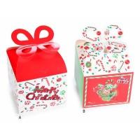 Caja cartón cuadrada con lazo estampados Navidad 2 modelos 11,5x11,5x10h cm