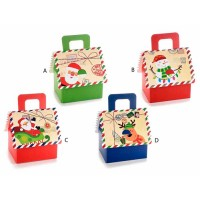 Caja cartón cuadrada con asa estampados Navidad 4 modelos 14x12,5x13,5h cm