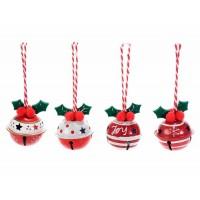 Set 6 adornos árbol de Navidad cascabeles metálicos en rojo y blanco 4x4,5cm