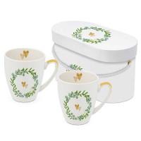 Set 2 mugs decorados 2 corazones en corona de hojas Two Hearts PPD 35 cl x 2 unidades
