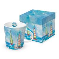 Taza con asa mug decorado en caja regalo estampado veleros en el mar Sailing PPD 35cl