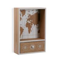 Caja cuelga llaves con cajón madera mapamundi blanco y 6 colgadores Atlas 20x8x30h cm