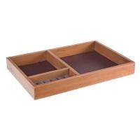 Bandeja joyero en madera con 3 compartimentos 23x34x4h cm