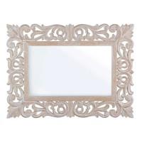 Espejo rectangular marco ancho tallado de madera clara con efecto blanco Dalila 60x45 cm