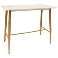 Mesa alta de bar blanca cocina auxiliar con patas color madera 115x60x102h cm