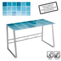 Mesa escritorio cristal templado Science cuadrados azules 120x60x75cm