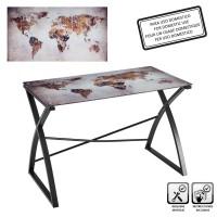 Mesa escritorio cristal templado Vintage Mundi 110x60x75h cm