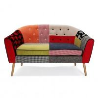Sofá tapizado patchwork Phillipe138x73x84h cm