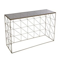 Consola rectangular metálica dorada y cristal 107x30x80h cm