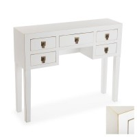Consola rectangular blanca y madera mdf Elvia 6 cajones 103x35x80h cm