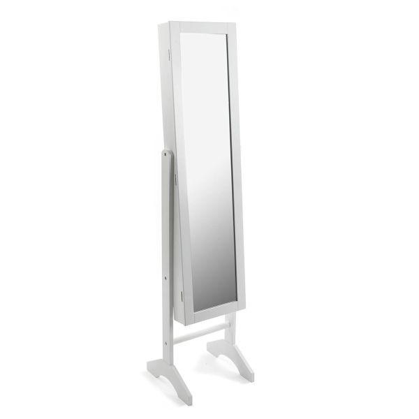 Espejo joyero de pie de madera blanco