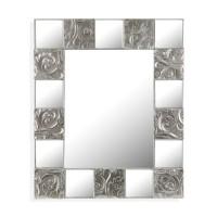 Espejo marco espejo y madera plateada barroco Milen 90x70 cm