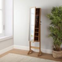 Espejo joyero vestidor con pie MDF color madera natural 155x36x40 cm
