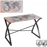 Mesa escritorio cristal templado Vintage Mundi The World 110x60x75h cm