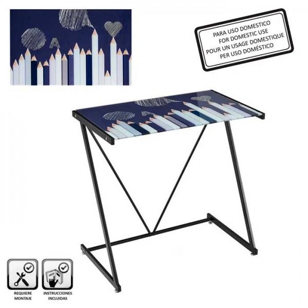 Mesa escritorio cristal templado estampado Lápices blanco y negro 77x50x79h cm