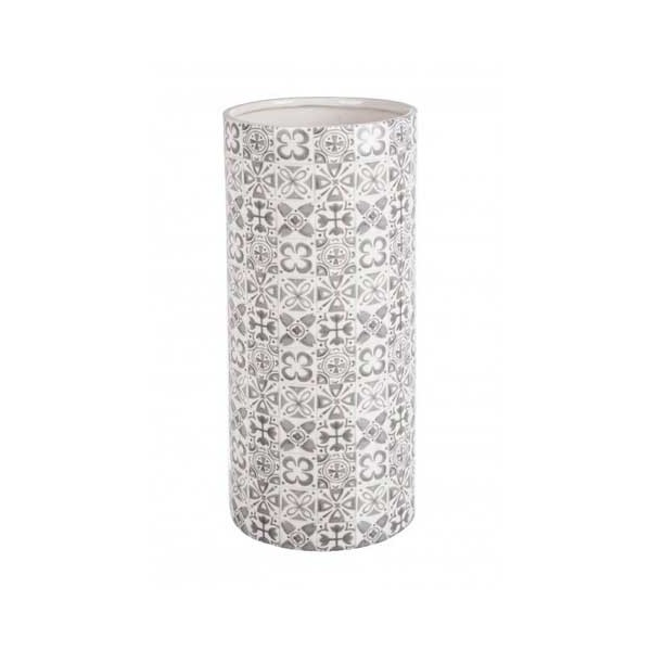 Paraguero redondo cerámica estampado gris Ares Ø20x45h cm