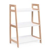 Estantería librería 3 baldas escalera color blanco y madera Brooklyn 62x38x90h cm