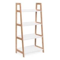 Estantería librería 4 baldas escalera color blanco y madera Brooklyn 62x38x130h cm