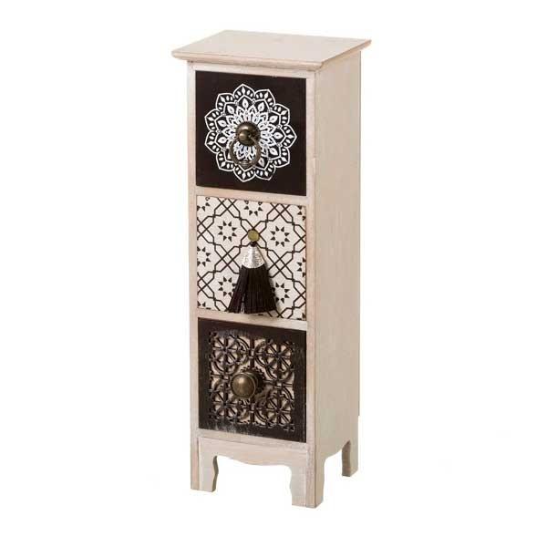 Mueble de sobremesa madera joyero 3 cajones negro y blanco estampado mandalas 13,5x11x39h cm