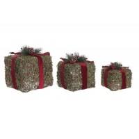 Set 3 paquetes regalo Navidad con luz led de ratan Lazo rojo y verde 27x27x32h cm