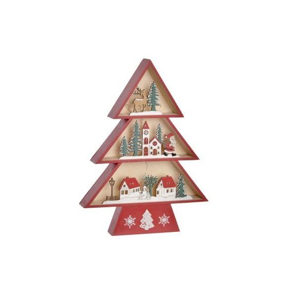 Arbol Navidad madera decoración luminosa luz led 12,5x3,5x30h cm