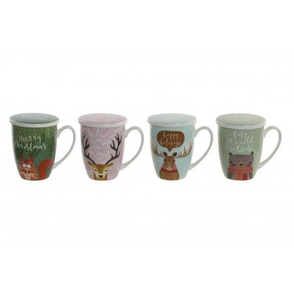 Mug tisanera infusiones porcelana Navidad 4 estampados navideños 12x8,3x11h cm 380ml
