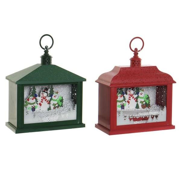 Farol navideño con luz led con muñecos de nieve Rojo o verde 21x10,5x24,5h cm
