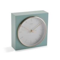 Reloj sobremesa cuadrado aguamarina, aluminio dorado y esfera blanca 17x6x17h cm