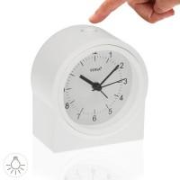 Reloj despertador redondo blanco y números negros 10,2x6,1x11,2h cm
