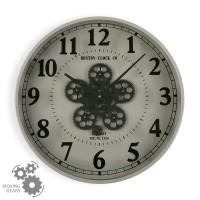 Reloj de pared gris y esfera con mecanismo negro Ø50 cm