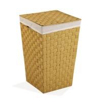 Cesto ropa color mostaza cuadrado con tapa, asas y funda 33x33x52h cm