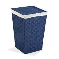 Cesto ropa color azul cuadrado con tapa, asas y funda 33x33x52h cm
