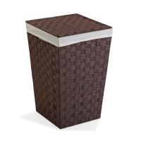 Cesto ropa color marrón chocolate cuadrado con tapa, asas y funda 33x33x52h cm