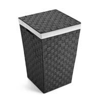 Cesto ropa color negro cuadrado con tapa, asas y funda 33x33x52h cm
