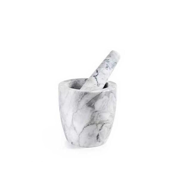 Mortero con mazo marmol gris Ø12x12h cm