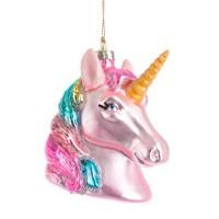 Bola árbol de Navidad cristal forma Unicornio rosa 8x5,2x9,2h cm