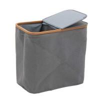 Cesto ropa doble gris con bambú 54,5x34,5x54h cm