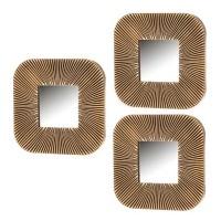 Set de 3 espejos cuadrados marco dorado polipropileno 25x1,80x25 cm