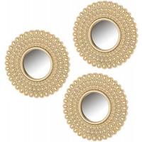 Set 3 espejos redondos decorativos pequeños polipropileno oro 25,50cm