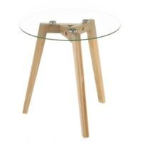 Mesa baja redonda pies madera y tablero cristal transparente 40x40x40h cm