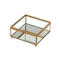 Caja joyero cristal vintage con tapa borde metal dorado 13,5x14x6h cm