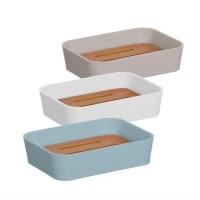 Jabonera con escurridor de bambú colores blanco, beige o azul 14,5x9x2h cm